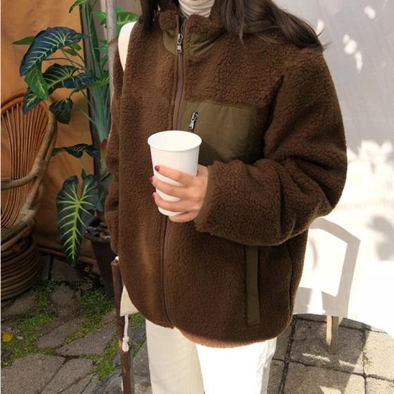 ボアブルゾン ボアジャケット 冬服 レディース 韓国 ファッション レディース レトロ ジャケット 冬アウター ボアアウター オーバーサイ